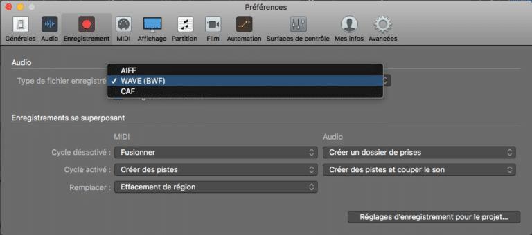 Choisir le format d'enregistrement audio