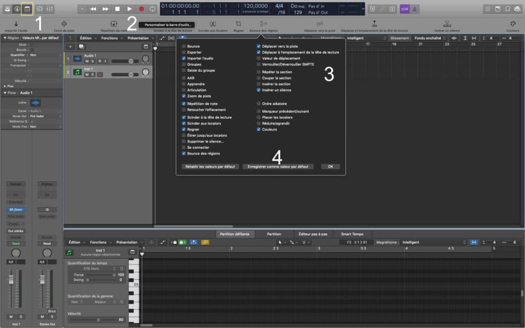 Sequence de réglage de la barre d'outils